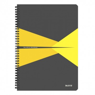 Caiet de birou, cu spira, coperta carton, A4, galben, matematica, LEITZ Office