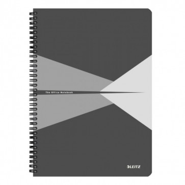 Caiet de birou, cu spira, coperta carton, A4, gri, matematica, LEITZ Office