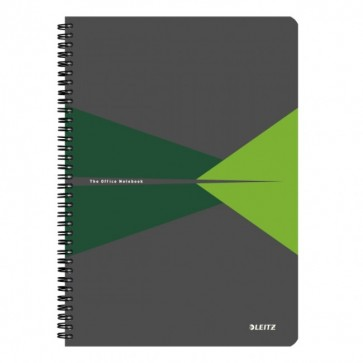 Caiet de birou, cu spira, coperta carton, A4, verde, matematica, LEITZ Office