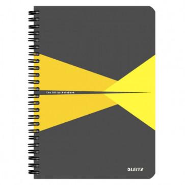 Caiet de birou, cu spira, coperta carton, A5, galben, matematica, LEITZ Office