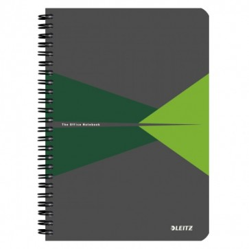 Caiet de birou, cu spira, coperta carton, A5, verde, matematica, LEITZ Office