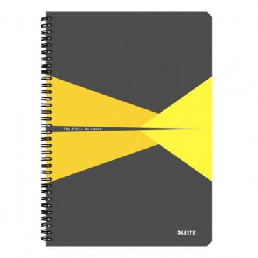 Caiet de birou, cu spira, coperta PP, A4, galben, matematica, LEITZ Office