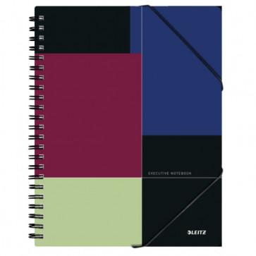 Caiet de birou cu spira, coperta PP, A4, negru-violet, dictando, LEITZ Executive Be Mobile