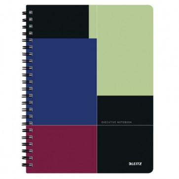 Caiet de birou, cu spira, coperta PP, A4, negru-violet, matematica, LEITZ Executive