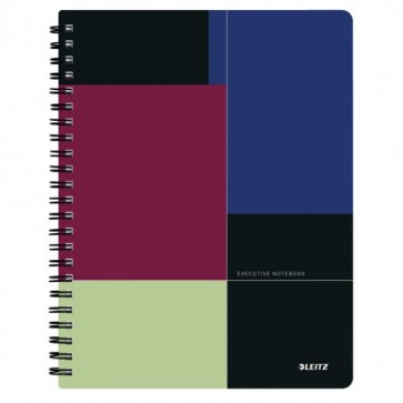 Caiet de birou, cu spira, coperta PP, A4, negru-violet, matematica, Leitz Executive Get Organized
