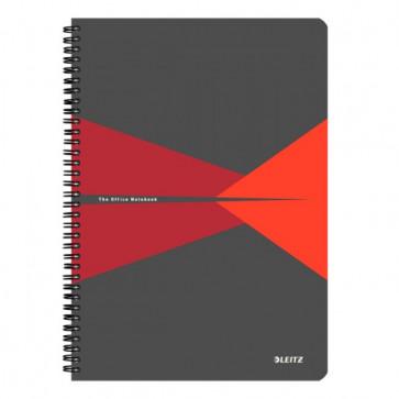 Caiet de birou, cu spira, coperta PP, A4, rosu, dictando, LEITZ Office