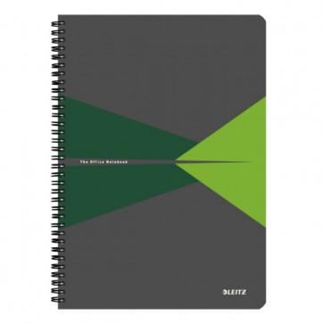 Caiet de birou, cu spira, coperta PP, A4, verde, matematica, LEITZ Office