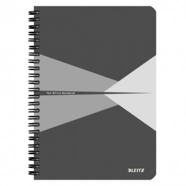 Caiet de birou, cu spira, coperta PP, A5, gri, matematica, LEITZ Office