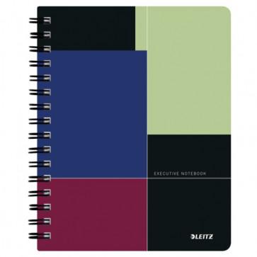 Caiet de birou, cu spira, coperta PP, A5, negru-violet, matematica, LEITZ Executive