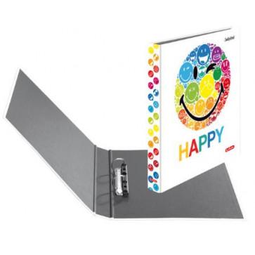Caiet mecanic, A4, 2 inele, 25mm, HERLITZ Smiley World Rainbow