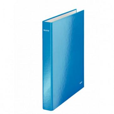 Caiet mecanic, A4, 2 inele DR, inel 25mm, carton laminat, albastru metalizat, LEITZ Wow