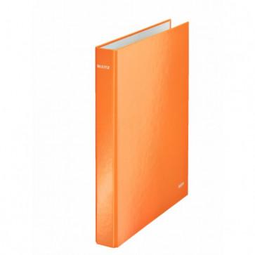 Caiet mecanic, A4, 4 inele DR, inel 25mm, carton laminat, portocaliu metalizat, LEITZ Wow