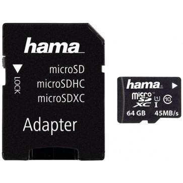 Card microSDHC 64GB HAMA, Class 10, UHS-I, Adaptor SD