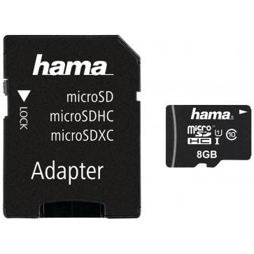 Card microSDHC 8GB HAMA, Class 10, UHS-I, Adaptor SD