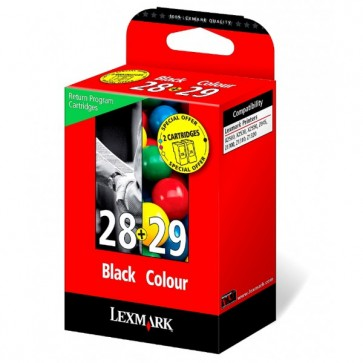 Set cartus, black + color, nr. 29 + 28, LEXMARK 18C1520E