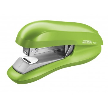 Capsator plastic de birou, pentru maxim 30 coli (capsare plata), capse 24/6, verde deschis, RAPID F30
