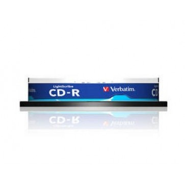 CD-R, 700MB, 52X, 10 buc/bulk, VERBATIM AZO LightScribe