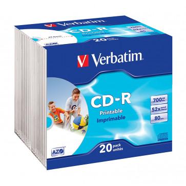 CD-R, 700MB, 52X, 20 buc/bulk, VERBATIM AZO Wide Inkjet Printable