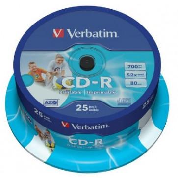 CD-R, 700MB, 52X, 25 buc/spindle, VERBATIM AZO Wide Inkjet Printable