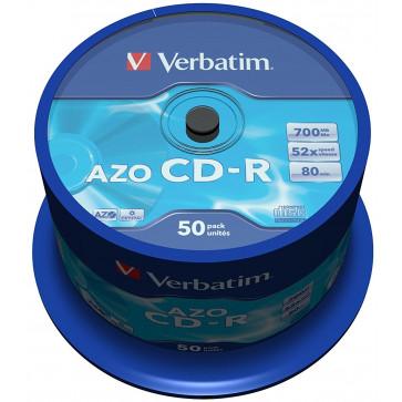 CD-R, 700MB, 52X, 50 bucspindle, VERBATIM AZO Crystal