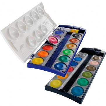 Acuarele 24 culori/set (culori detasabile si alb de zinc), PELIKAN