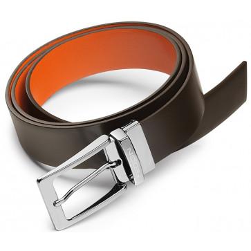 Curea maro/portocaliu, din piele de bovina, FEDON Belts Cint-Double-U12