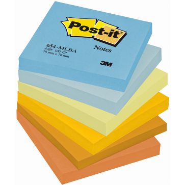 "Notesuri autoadezive (6 seturi), 76 x 76mm, 100 file/set, diferite culori neon, POST-IT ""BALANCE"" 654-MLBA"