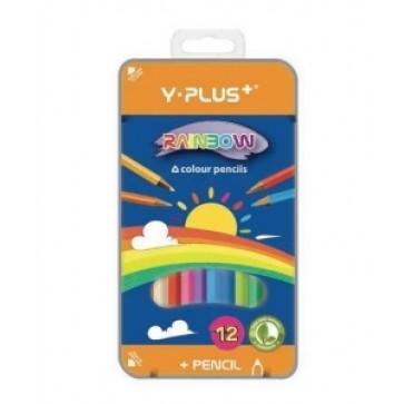 Creioane colorate, cutie metal, 12 culori/set, PIGNA Rainbow Y-Plus+