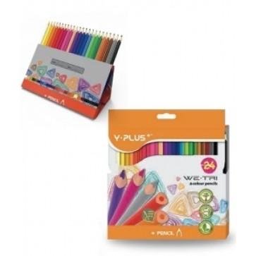 Creioane colorate, cutie tip suport, 24 culori/set, PIGNA Y-Plus+