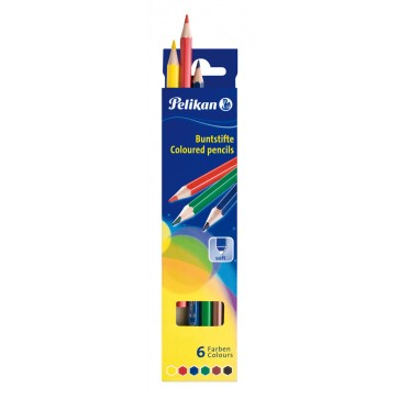 Creioane colorate, forma hexagonala, 1/1, 6 bucati/set, PELIKAN