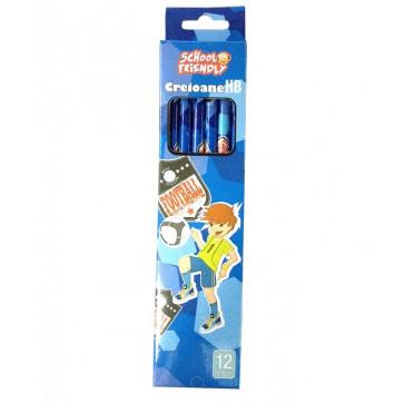 Creion cu mina grafit, HB, cu radiera, 12 buc/set, baieti, PIGNA School Friendly