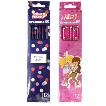 Creion cu mina grafit, HB, cu radiera, 12 buc/set, fete, PIGNA School Friendly