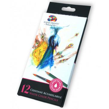 Creioane acuarelabile + pensula, 12 culoriset, PIGNA School Friendly Art