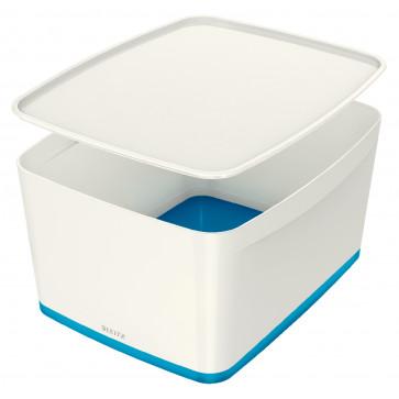 Cutie pentru depozitare, cu capac, mare(A4), alb/albastru, LEITZ MyBox