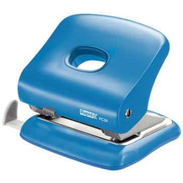 Perforator plastic de birou, pentru maxim 30 coli, albastru deschis, RAPID FC30
