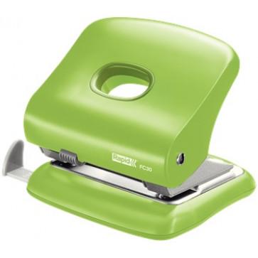 Perforator plastic de birou, pentru maxim 30 coli, verde deschis, RAPID FC30