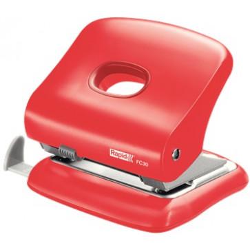 Perforator plastic de birou, pentru maxim 30 coli, rosu deschis, RAPID FC30
