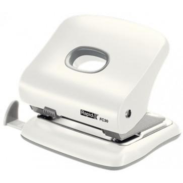 Perforator de birou, pentru maxim 30 coli, alb, RAPID Fashion FC30