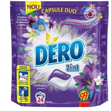 Detergent rufe, automat, 24 capsule, DERO Capsule Duo Levantica si Iasomie
