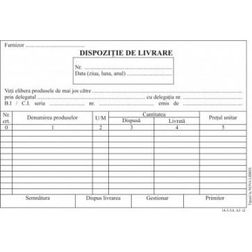 Dispozitie livrare, A5, tipar fata, autocopiativ, 100 file/carnet