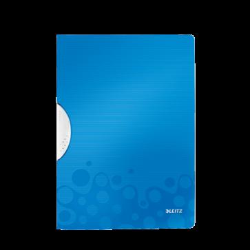 Dosar din plastic, cu clip, albastru metalizat, LEITZ WOW ColorClip