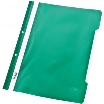 Dosar din plastic, cu sina si perforatii, verde, WORKING-UP