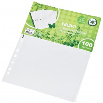 File din plastic A4 pentru protectie documente, transparente, 40 microni, 100 bucati/pachet, NOKI