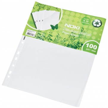 File din plastic A4, cristal, 45 mic, 100 buc/set, NOKI