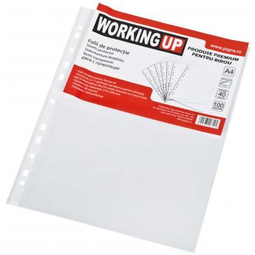 File din plastic, A4, transparent, 40mic, 100 buc/set, WORKING-UP