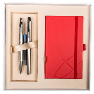 Set stilou + pix + notes, argintiu, din metal slefuit, cu accesorii cromate, PARKER I.M.