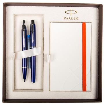 Set stilou + pix + notes, albastru lac, cu accesorii cromate, PARKER I.M.
