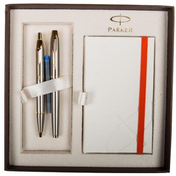 Set stilou + pix + notes, argintiu, din metal slefuit, cu accesorii aurii, PARKER I.M.