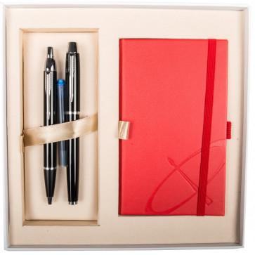 Set stilou + pix + notes, negru lac, cu accesorii cromate, PARKER I.M.