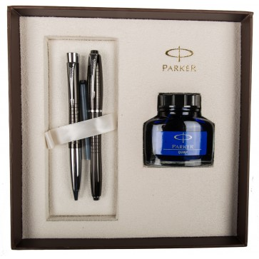 Set stilou + pix + calimara, negru metalizat, Ebony Metal Chiselled, PARKER Urban Premium